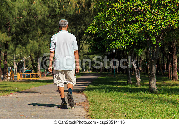 Old people walking in the park - csp23514116
