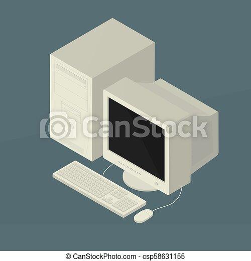 Old Personal Computer Vector Illustration, retro