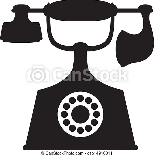 Old Phone A Silhouette Image Of Vintage Telephone Vector Clip Art