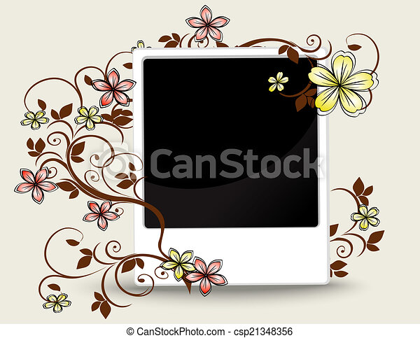 Old photograph with floral ornament - csp21348356