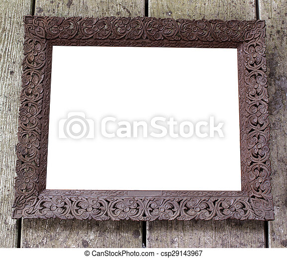 Old picture frame on vintage wood wall - csp29143967