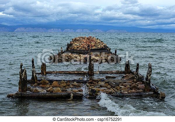 Old Pier of on Olkhon Island, Baikal, Siberia, Russia - csp16752291