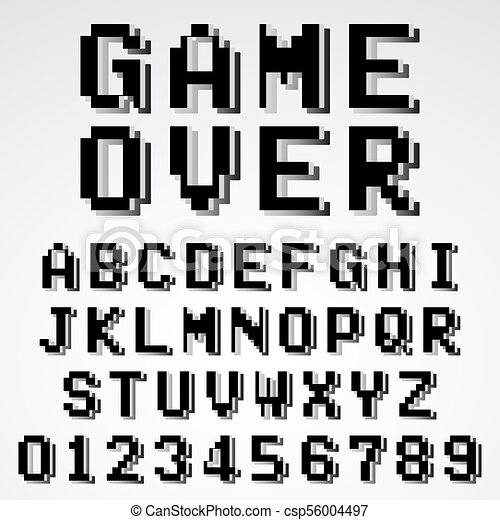 Old Pixel Video Game Alphabet Font Template