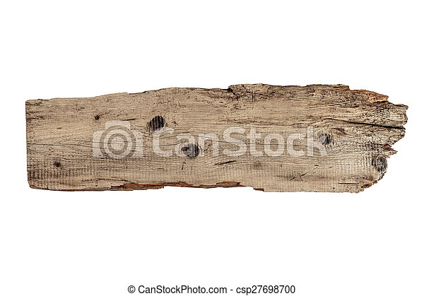 Old plank of wood isolated on white - csp27698700