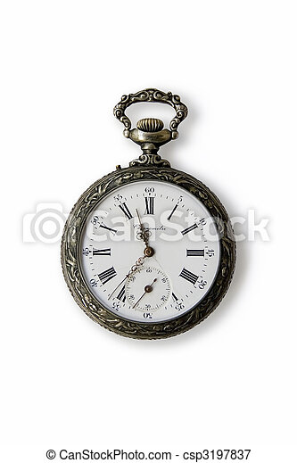 Old Pocket watch on a white background - csp3197837