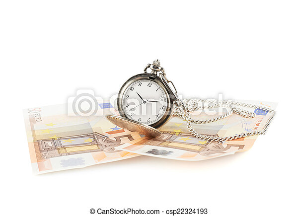 Old pocket watch over the bank notes - csp22324193