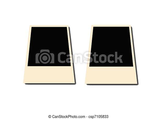 Old polaroid photo frames isolated on white background. black areas ...