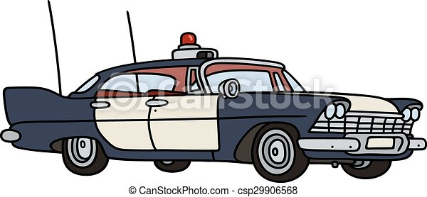 Old Police Car Hand Drawing Of A Classic Big American Clip Art