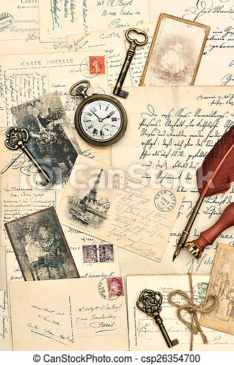 old post cards, letters and photos - csp26354700