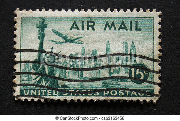 Old Postage Stamp From USA 15 Cents With Statue Of Liberty