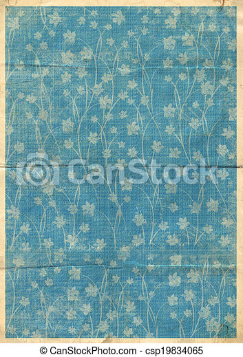 Old postcard for congratulation or invitation with orchids ornamental pattern - csp19834065