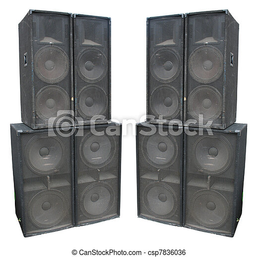 old powerful stage concerto audio speakers isolated - csp7836036