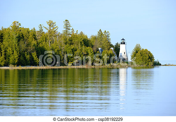 Old Presque Isle Lighthouse, built in 1840 - csp38192229