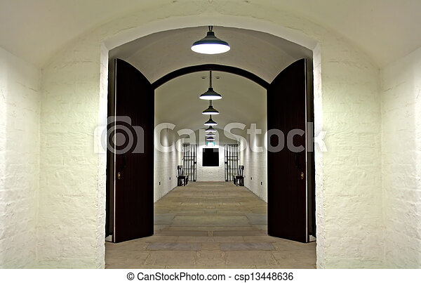 Old prison cell block - csp13448636