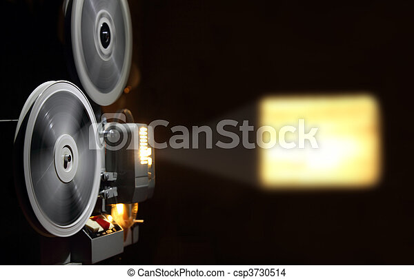 old projector showing film - csp3730514