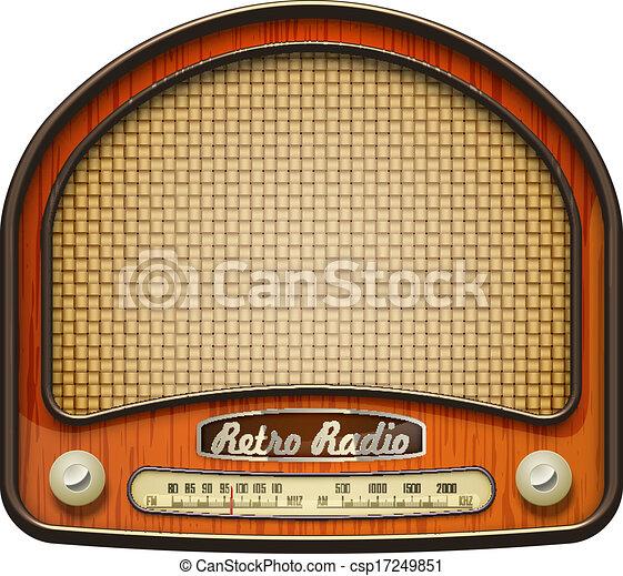Old radio. Realistic retro radio, isolated on white. eps10 ...