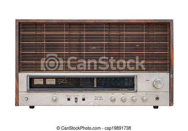 Old radio isolated on white background - csp19891738