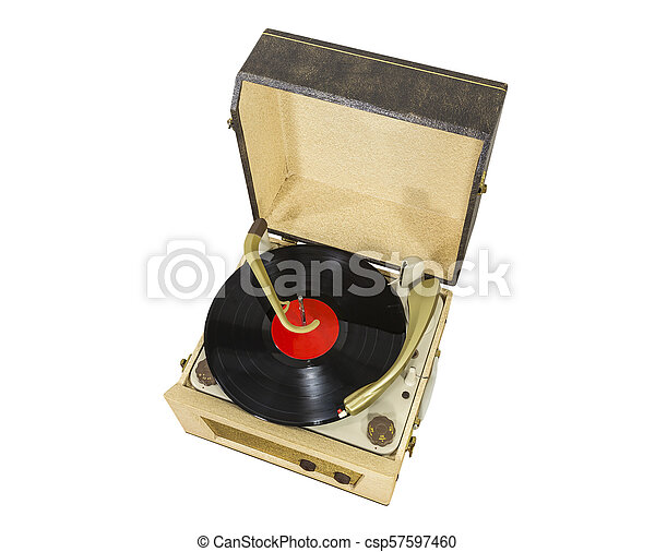 Old Record Player with Album Isolated on White - csp57597460