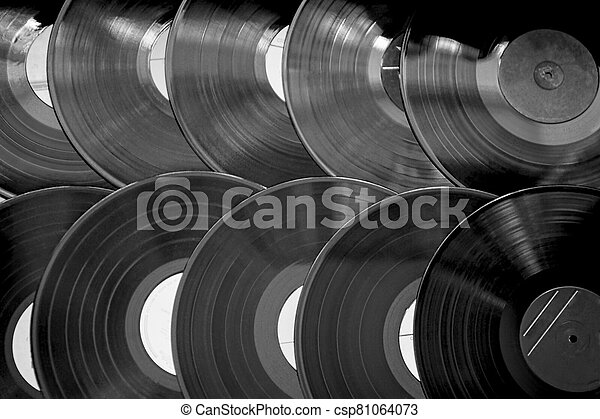Old records in a row, black and white - csp81064073