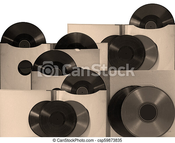 Old records in sepia color - csp59873835