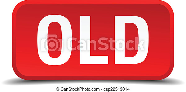 Old red 3d square button isolated on white - csp22513014