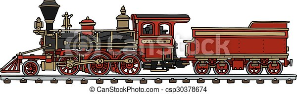 Old red american steam locomotive - csp30378674
