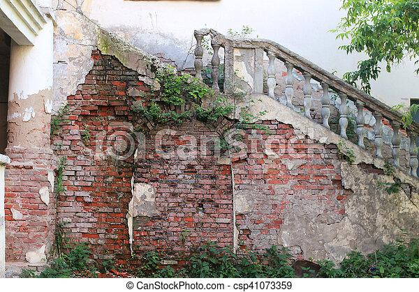 old red brick wall - csp41073359