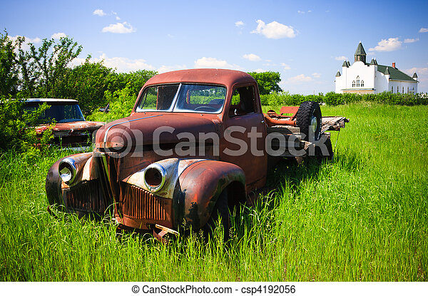 Old Red Farm Truck - csp4192056