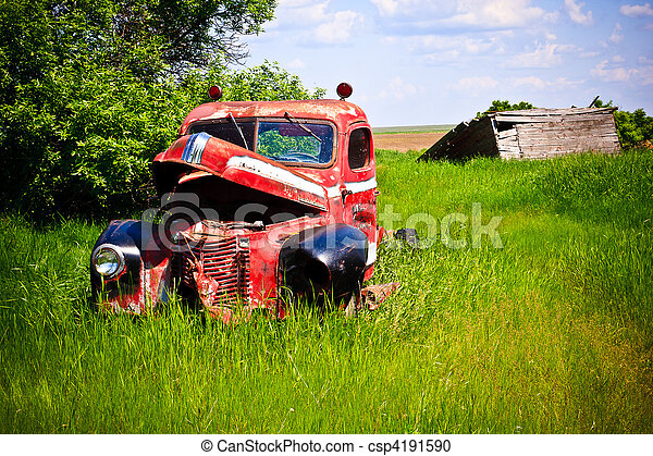 Old Red Farm Truck - csp4191590