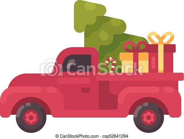 Old Truck With Christmas Tree.Old Red Truck With Christmas Tree And Presents