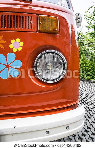 Old red vintage van - csp44286482