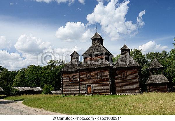 Old Resurrection wooden church from Poltavshina region ,Ukraine, - csp21080311