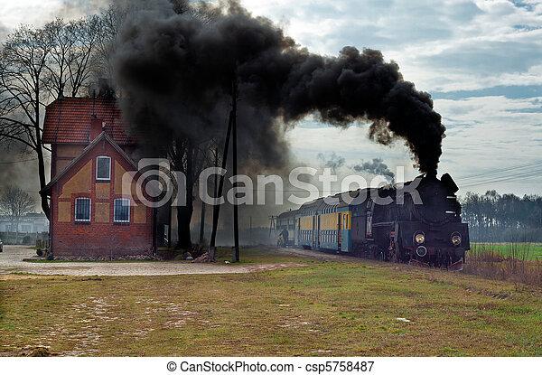 Old retro steam train - csp5758487
