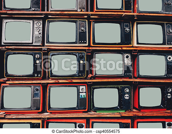 old retro television and blank screen csp40554575