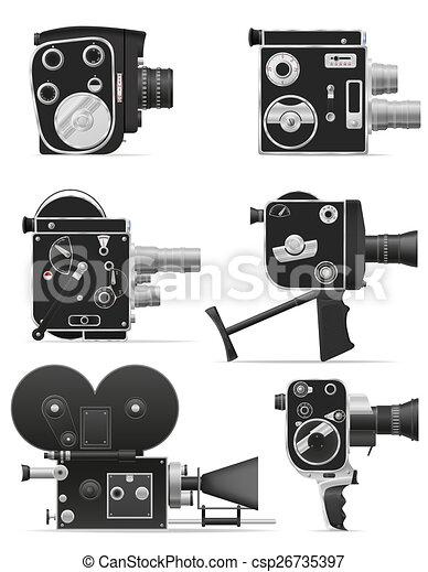 old retro vintage movie video camera illustration