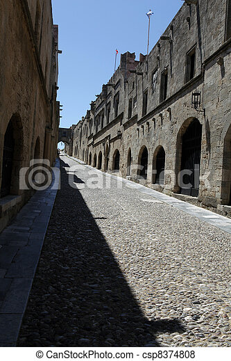 Old Rhodos town. Street of the Knights (Now Embassy street) - csp8374808