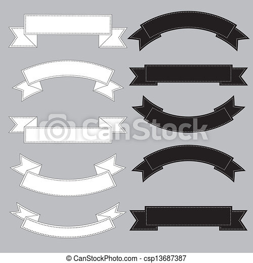 Old ribbon banner ,black and white. - csp13687387