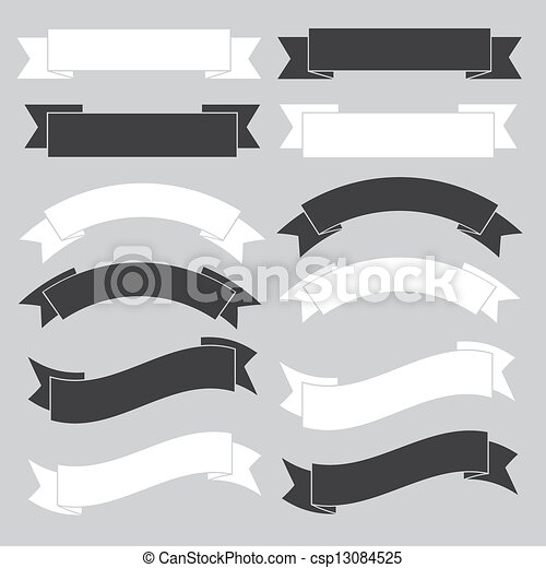 Old ribbon banner ,black and white. - csp13084525