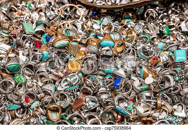 Old rings on Jerusalem flea market - csp75938964