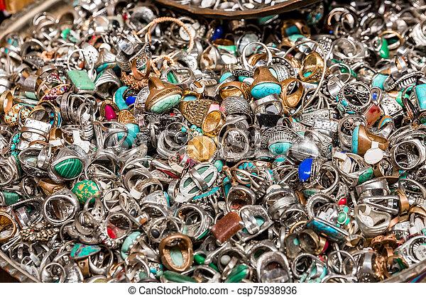 Old rings on Jerusalem flea market - csp75938936