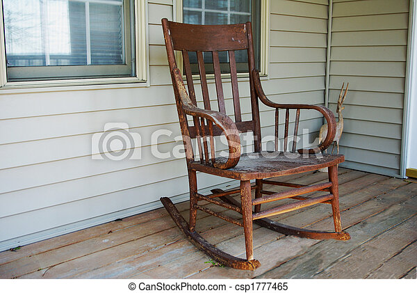 Old Rocking Chair Wooden Rocker On Front Porch Looks Stock