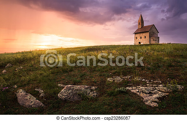 Old Roman Church at Sunset in Drazovce, Slovakia - csp23286087