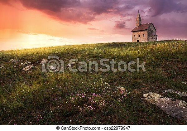 Old Roman Church at Sunset in Drazovce, Slovakia - csp22979947