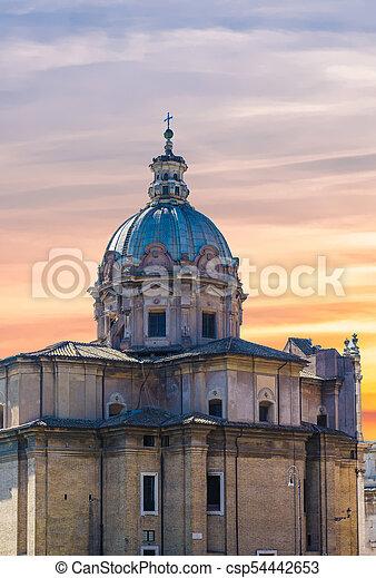 Old Roman Church at Sunset - csp54442653