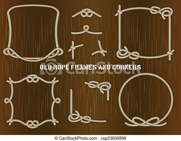 Old Rope Frames and Corners on Brown Background - csp23606899
