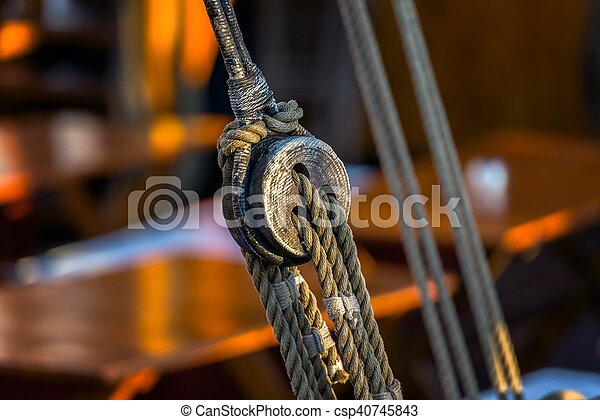 Old rope on sailing boat - csp40745843