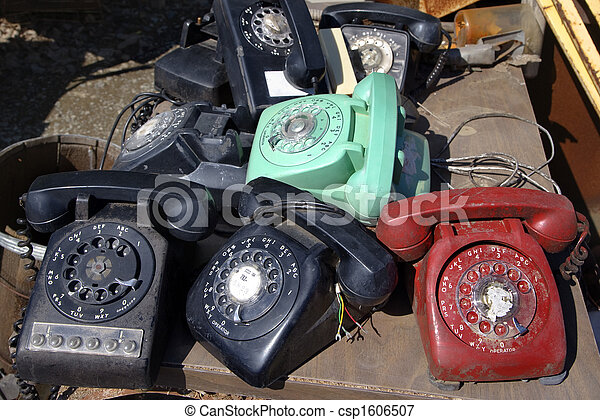 Old rotary phones. - csp1606507