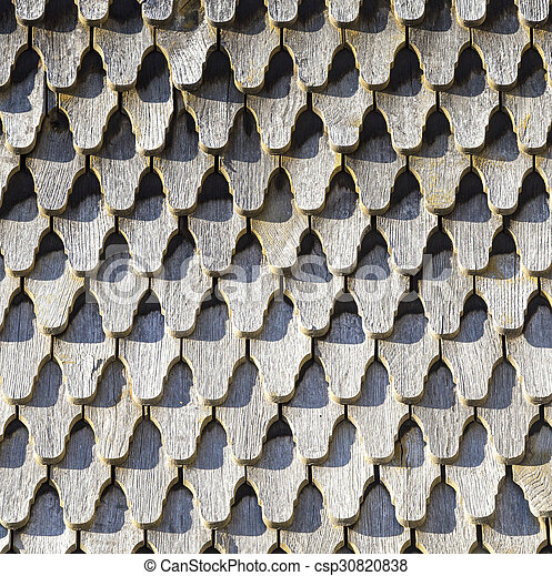 Old rotten wooden roof. Black - white background - csp30820838