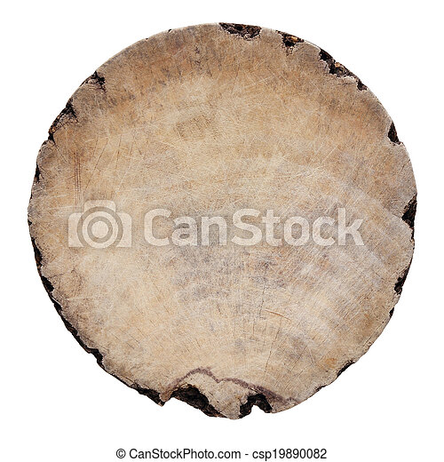 old round wood isolated on white background  - csp19890082