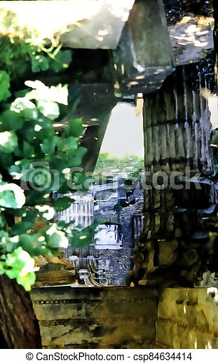old ruin in a park - csp84634414